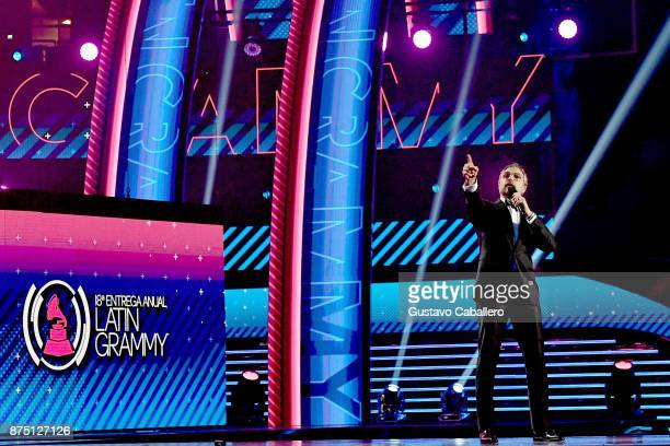 Cohost Jaime Camil speaks onstage during The 18th Annual Latin Grammy Awards at MGM Grand Garden Arena on November 16 2017 in Las Vegas Nevada
