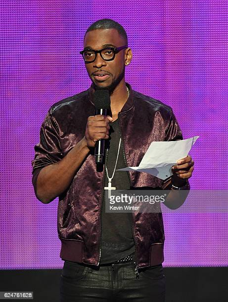 Cohost Jay Pharoah speaks onstage during the 2016 American Music Awards at Microsoft Theater on November 20 2016 in Los Angeles California