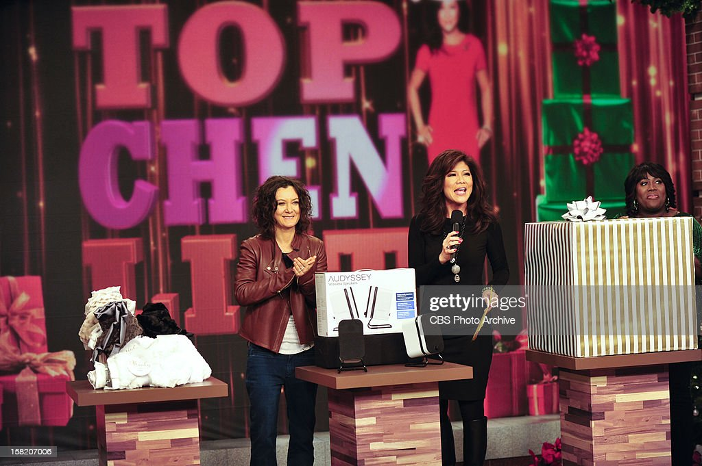 """Co-host Julie Chen presents her annual """"Top Chen List"""" of holiday gift items on THE TALK to kick of the special week of holiday shows broadcasting from New York City, Monday, December 10, 2012 on the CBS Television Network. Sara Gilbert, left, and Julie Chen, shown."""