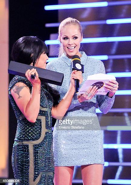 CoHost Lauren Toyota and Laura Vandervoort at the 2014 Much Music Video Awards at MuchMusic HQ on June 15 2014 in Toronto Canada