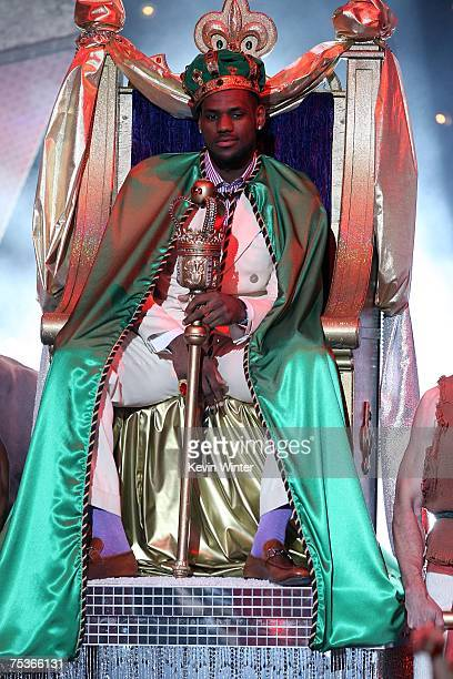 Cohost LeBron James arrives onstage in a throne during the 2007 ESPY Awards at the Kodak Theatre on July 11 2007 in Hollywood California