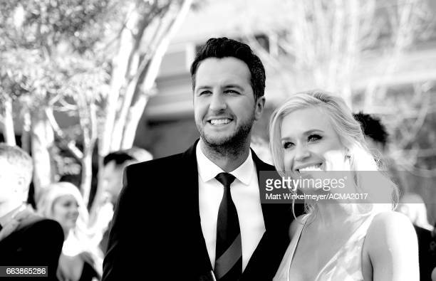 Cohost Luke Bryan and Caroline Boyer attend the 52nd Academy Of Country Music Awards at TMobile Arena on April 2 2017 in Las Vegas Nevada