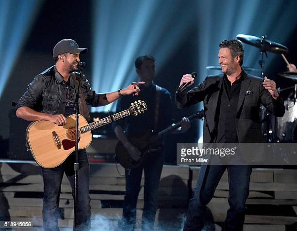 Cohost Luke Bryan and recording artist Blake Shelton perform onstage during the 51st Academy of Country Music Awards at MGM Grand Garden Arena on...