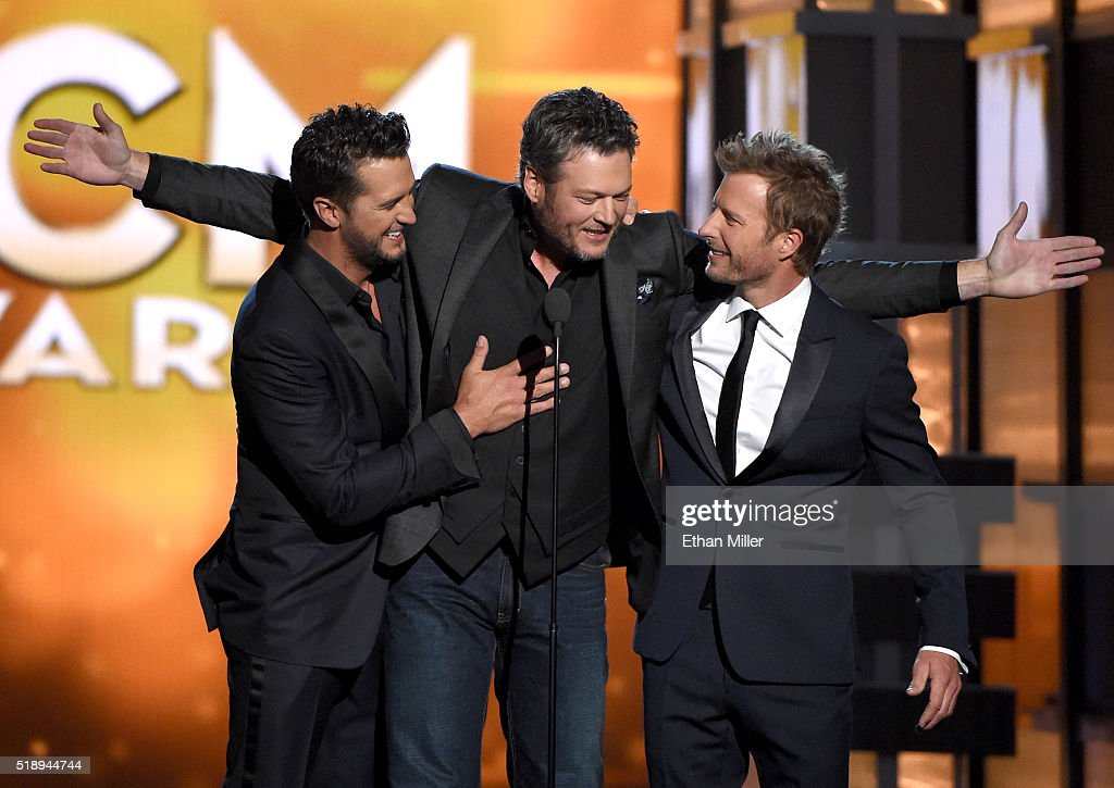 Cohost Luke Bryan recording artist Blake Shelton and cohost Dierks Bentley speak onstage during the 51st Academy of Country Music Awards at MGM Grand...