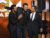 Cohost Luke Bryan recording artist Blake Shelton and cohost Dierks Bentley speak during the 51st Academy of Country Music Awards at MGM Grand Garden...