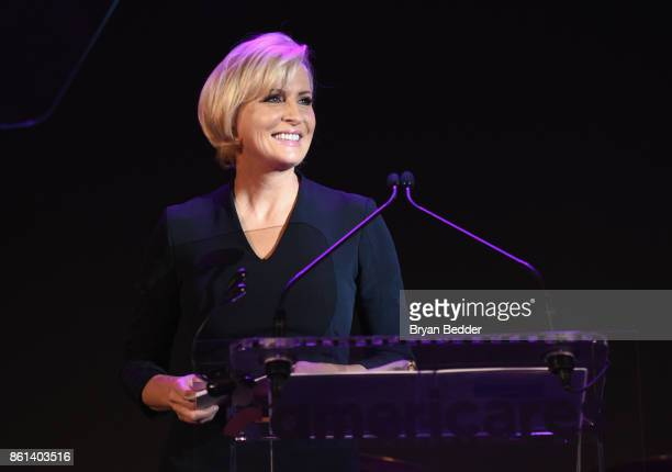 Cohost Mika Brzezinski speaks onstage during the 2017 Americares Airlift Benefit at Westchester County Airport on October 14 2017 in Armonk New York