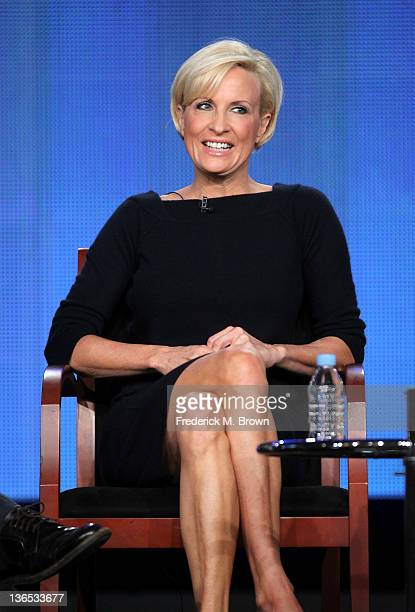 Cohost Mika Brzezinski speaks onstage during the 'Morning Joe' panel during the NBCUniversal portion of the 2012 Winter TCA Tour at The Langham...