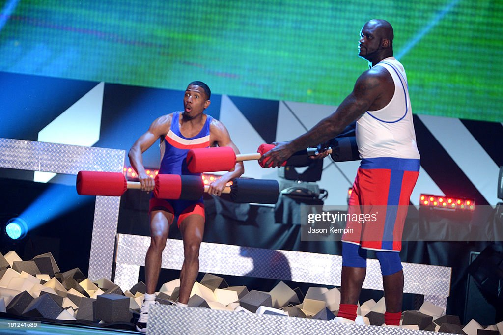 Co-host Nick Cannon and host Shaquille O'Neal entertain the audience onstage at the Third Annual Hall of Game Awards hosted by Cartoon Network at Barker Hangar on February 9, 2013 in Santa Monica, California. 23270_003_JK_0622.JPG