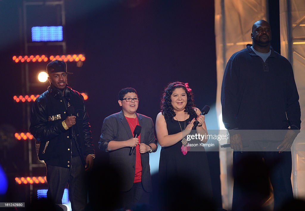 Co-host Nick Cannon, Rico and Raini Rodriguez and host Shaquille O'Neal speak onstage at the Third Annual Hall of Game Awards hosted by Cartoon Network at Barker Hangar on February 9, 2013 in Santa Monica, California. 23270_003_JK_1141.JPG