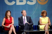 Cohost Norah O'Donnell CBS vice president of programming Chris Licht and cohost Gayle King speak at the CBS News 'CBS This Morning' discussion panel...