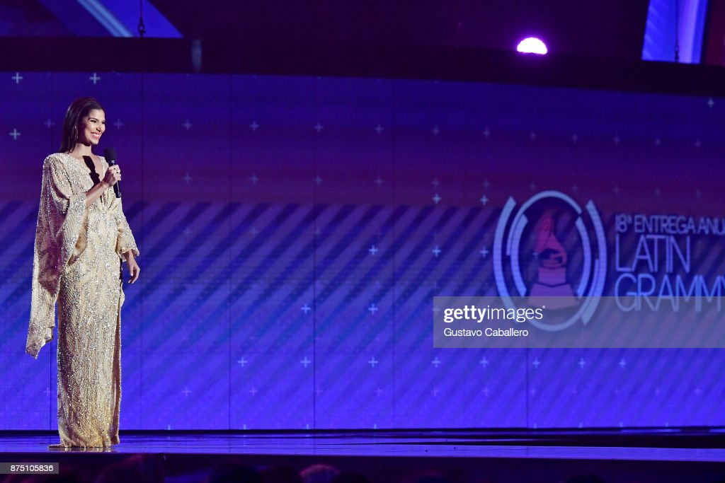 Co-host Roselyn Sanchez speaks onstage during The 18th Annual Latin Grammy Awards at MGM Grand Garden Arena on November 16, 2017 in Las Vegas, Nevada.