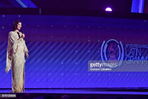 Cohost Roselyn Sanchez speaks onstage during The 18th Annual Latin Grammy Awards at MGM Grand Garden Arena on November 16 2017 in Las Vegas Nevada