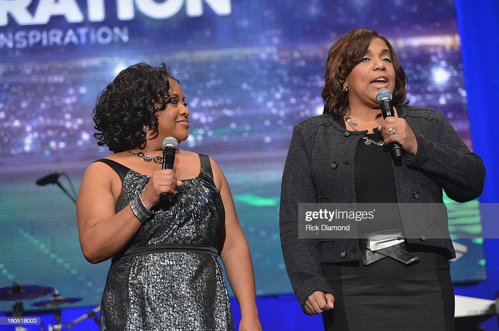 Co-host Sherri Shepherd and Telisa Yancy of American Familiy Insurance speak onstage during the Super Bowl Gospel 2013 Show at UNO Lakefront Arena on February 1, 2013 in New Orleans, Louisiana.