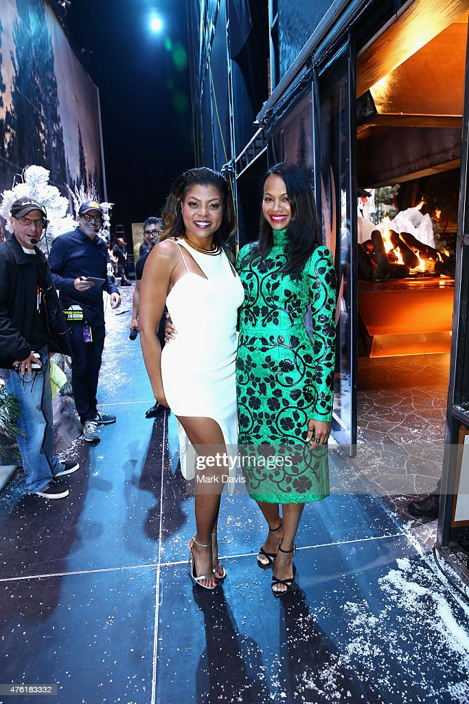 Cohost Taraji P Henson and actress Zoe Saldana pose backstage at Spike TV's Guys Choice 2015 at Sony Pictures Studios on June 6 2015 in Culver City...