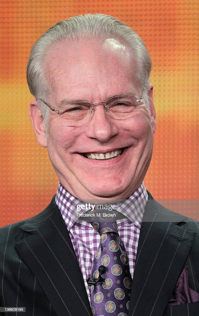 Co-host <a gi-track='captionPersonalityLinkClicked' href=/galleries/search?phrase=Tim+Gunn&family=editorial&specificpeople=696109 ng-click='$event.stopPropagation()'>Tim Gunn</a> speaks onstage during the 'The Revolution' panel during the Disney/ABC Television Group portion of the 2012 Winter TCA Tour at The Langham Huntington Hotel and Spa on January 9, 2012 in Pasadena, California.