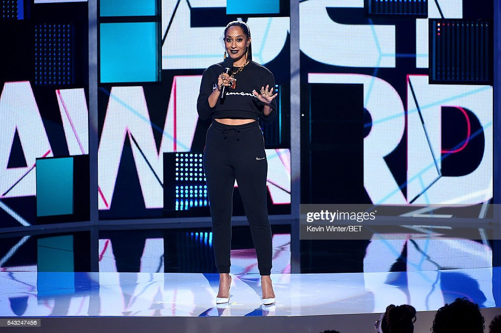 Co-host <a gi-track='captionPersonalityLinkClicked' href=/galleries/search?phrase=Tracee+Ellis+Ross&family=editorial&specificpeople=211601 ng-click='$event.stopPropagation()'>Tracee Ellis Ross</a> speaks onstage during the 2016 BET Awards at the Microsoft Theater on June 26, 2016 in Los Angeles, California.