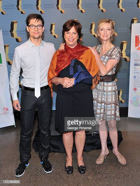 Cohost/actor Gregory Smith Interim CEO of The Academy of Canadian Cinema Television Helga Stephenson and cohost/actress Sheila McCarthy attend the...
