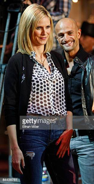Cohosts and judges of 'Germany's Next Topmodel' model Heidi Klum and Peyman Amin appear during a taping of the television show at the Fashion Show...