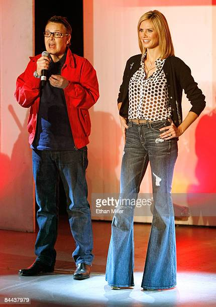 Cohosts and judges of 'Germany's Next Topmodel' Rolf Scheider and model Heidi Klum appear during a taping of the television show at the Fashion Show...