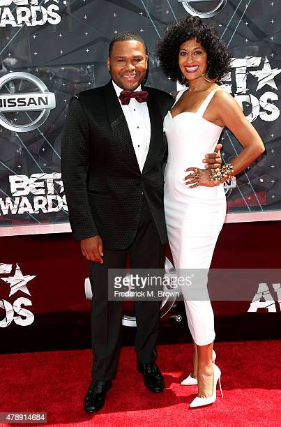Cohosts Anthony Anderson and Tracee Ellis Ross attend the 2015 BET Awards at the Microsoft Theater on June 28 2015 in Los Angeles California