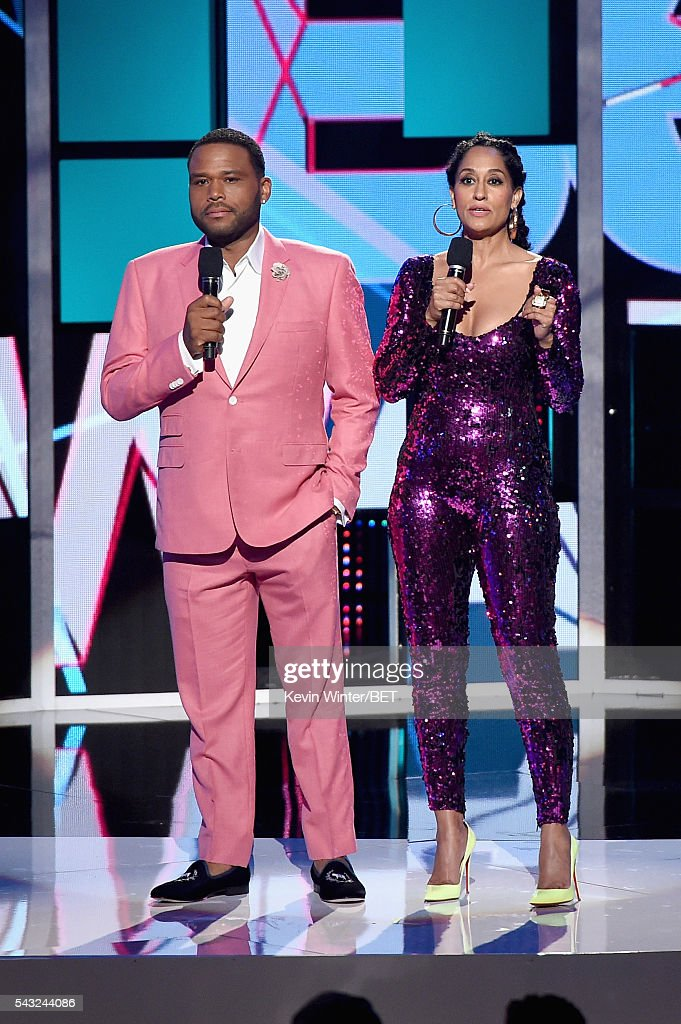 Co-hosts <a gi-track='captionPersonalityLinkClicked' href=/galleries/search?phrase=Anthony+Anderson&family=editorial&specificpeople=202577 ng-click='$event.stopPropagation()'>Anthony Anderson</a> (L) and <a gi-track='captionPersonalityLinkClicked' href=/galleries/search?phrase=Tracee+Ellis+Ross&family=editorial&specificpeople=211601 ng-click='$event.stopPropagation()'>Tracee Ellis Ross</a> speak onstage during the 2016 BET Awards at the Microsoft Theater on June 26, 2016 in Los Angeles, California.