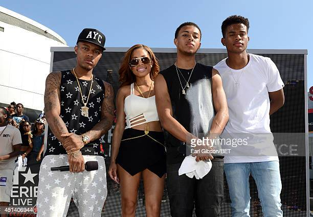 Cohosts Bow Wow and Keshia Chante and recording artists Diggy Simmons and Trevor Jackson pose onstage at 106 Park Live Presented By Coca Cola during...