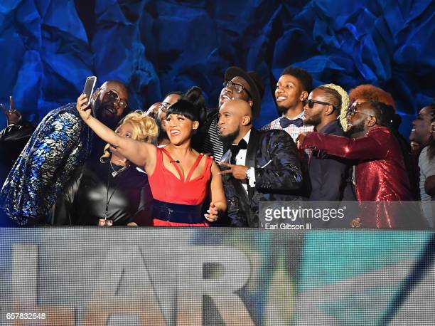 Cohosts Erica Campbell and Anthony Brown pose for a selfie during the 32nd annual Stellar Gospel Music Awards at the Orleans Arena on March 25 2017...