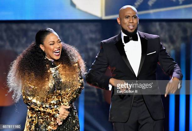 Cohosts Erica Campbell and Anthony Brown speak onstage during the 32nd annual Stellar Gospel Music Awards at the Orleans Arena on March 25 2017 in...