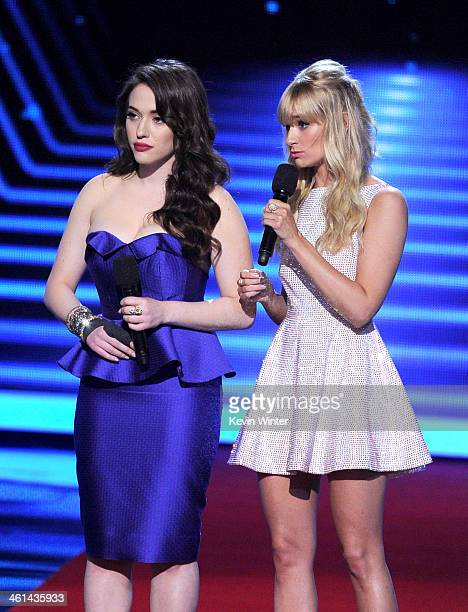 Cohosts Kat Dennings and Beth Behrs speak onstage at The 40th Annual People's Choice Awards at Nokia Theatre LA Live on January 8 2014 in Los Angeles...