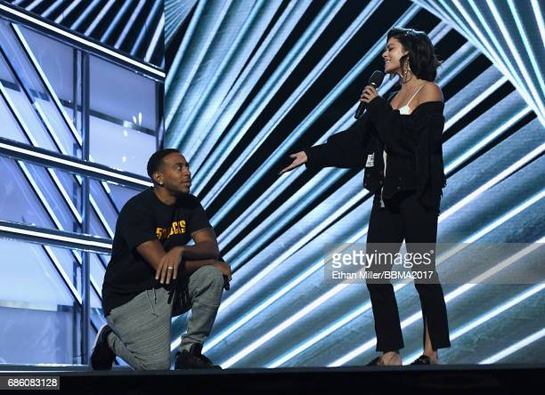 Cohosts Ludacris and Vanessa Hudgens rehearse onstage for the 2017 Billboard Music Awards at TMobile Arena on May 20 2017 in Las Vegas Nevada