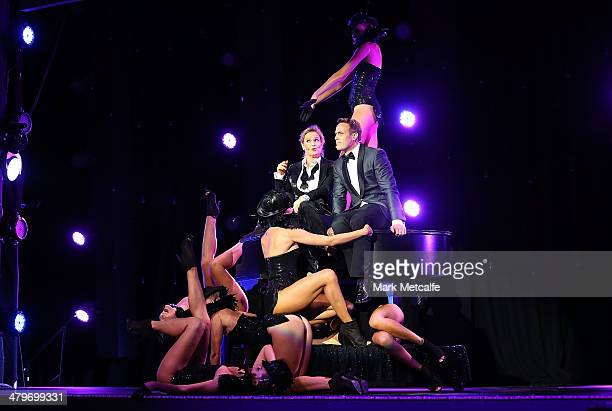 Cohosts Matt Shirvington and Shaynna Blaze perform on stage during the 12th ASTRA Awards at Carriageworks on March 20 2014 in Sydney Australia
