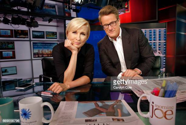 Cohosts of MSNBC's 'Morning Joe' Joe Scarborough Mika Brzezinski are photographed for Los Angeles Times on March 29 2017 in New York City PUBLISHED...