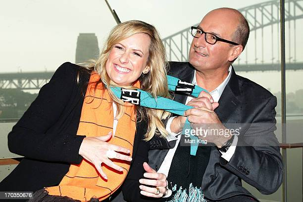 Cohosts of 'Sunrise' Melissa Doyle and David Koch pose during a Greater Western Sydney Giants AFL media opportunity to promote the upcoming AFL match...