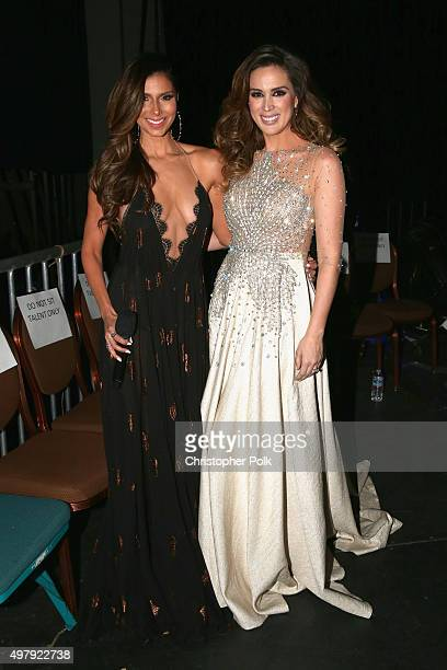 Cohosts Roselyn Sanchez and Jacqueline Bracamontes pose backstage during the 16th Latin GRAMMY Awards at the MGM Grand Garden Arena on November 19...