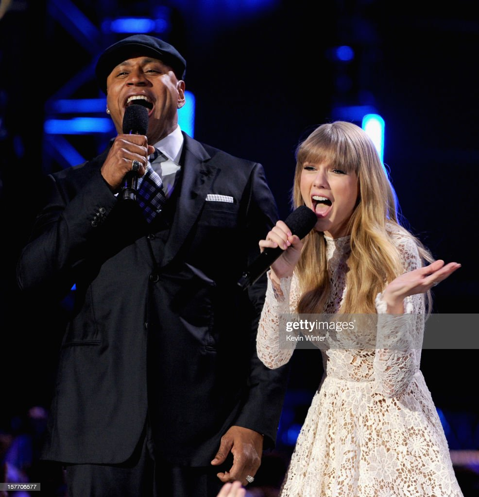 Co-hosts Taylor Swift and LL Cool J speak onstage at The GRAMMY Nominations Concert Live!! held at Bridgestone Arena on December 5, 2012 in Nashville, Tennessee.