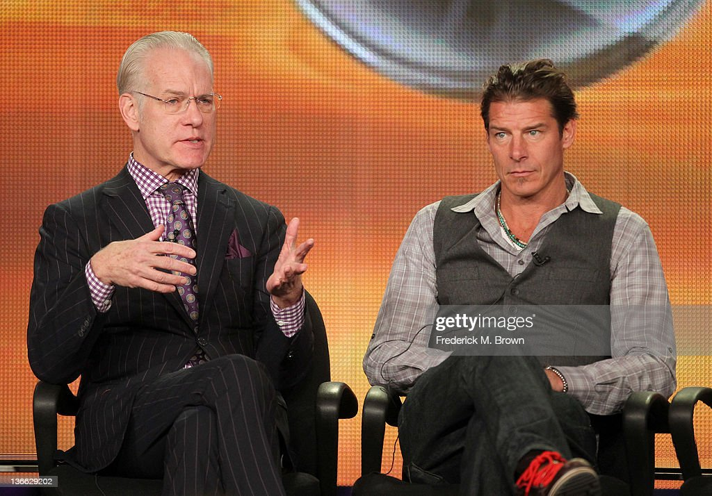 Co-hosts <a gi-track='captionPersonalityLinkClicked' href=/galleries/search?phrase=Tim+Gunn&family=editorial&specificpeople=696109 ng-click='$event.stopPropagation()'>Tim Gunn</a> (L) and <a gi-track='captionPersonalityLinkClicked' href=/galleries/search?phrase=Ty+Pennington&family=editorial&specificpeople=241576 ng-click='$event.stopPropagation()'>Ty Pennington</a> speak onstage during the 'The Revolution' panel during the Disney/ABC Television Group portion of the 2012 Winter TCA Tour at The Langham Huntington Hotel and Spa on January 9, 2012 in Pasadena, California.