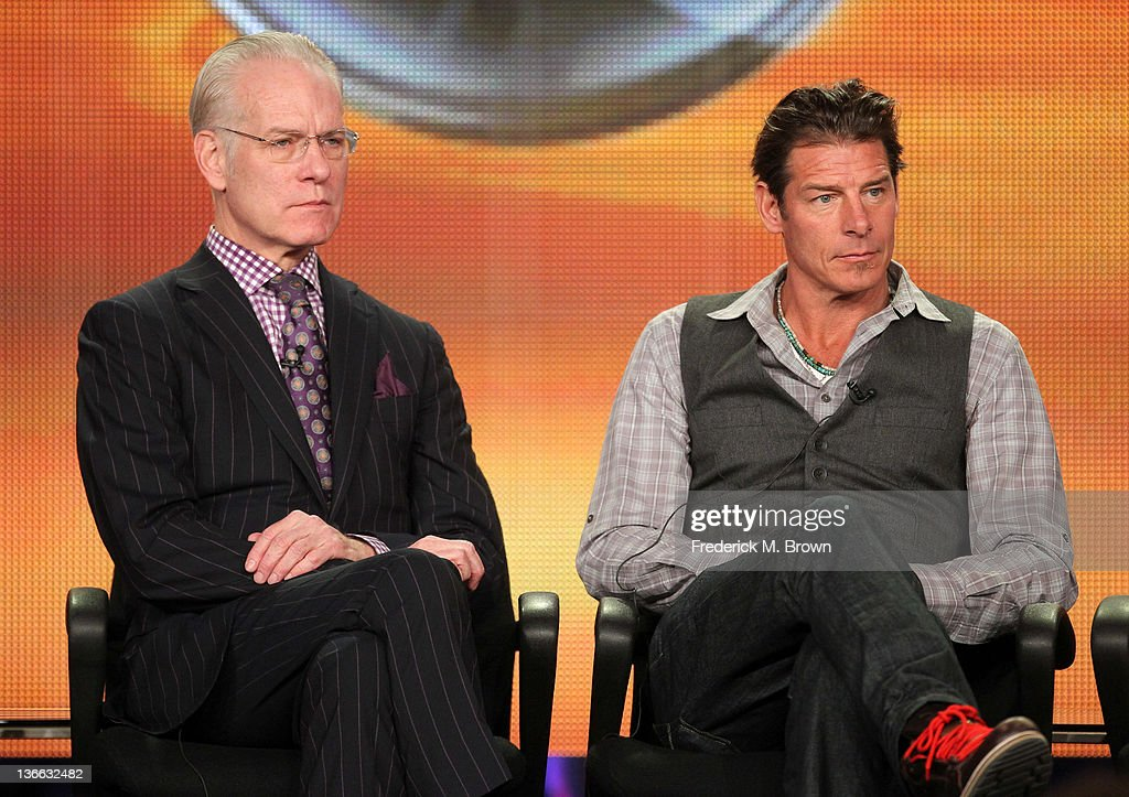 Co-hosts Tim Gunn and Ty Pennington speak onstage during the 'The Revolution' panel during the Disney/ABC Television Group portion of the 2012 Winter TCA Tour at The Langham Huntington Hotel and Spa on January 9, 2012 in Pasadena, California.