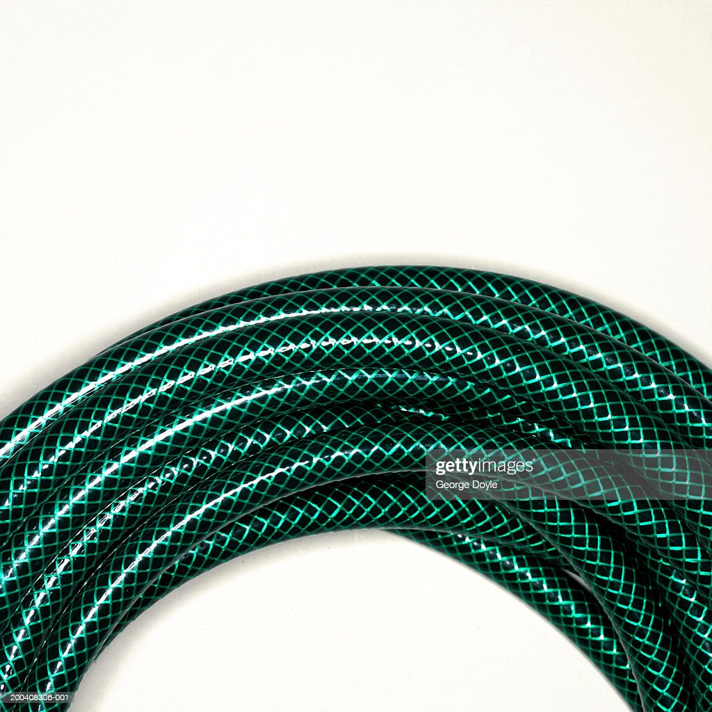 Coiled garden hose, section, close-up