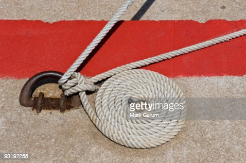 A coiled nautical rope