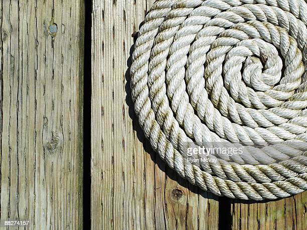 Coiled rope on dock