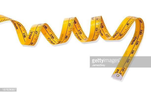 Coiled Yellow Tape Measure on White Background