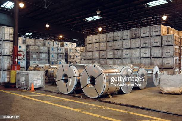 Coils of steel inside are stored amongst crates of rubber at The Port of New Orleans in New Orleans Louisiana on June 27 2017