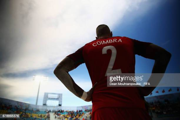 Coimbra of Portugal waits to come on during the FIFA Beach Soccer World Cup Bahamas 2017 quarter final match between Brazil and Portugal at National...