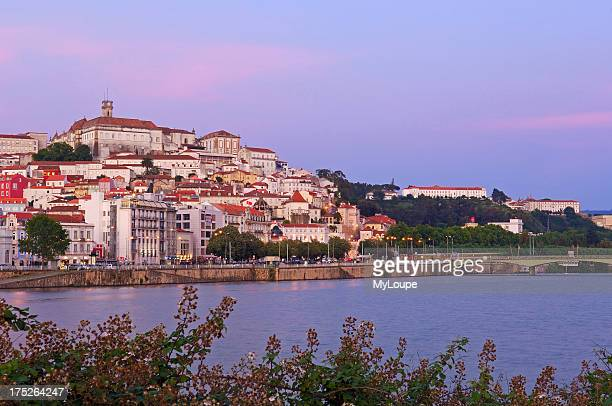 Coimbra Old town and Mondego river at Dusk Beira Litoral Portugal Europe
