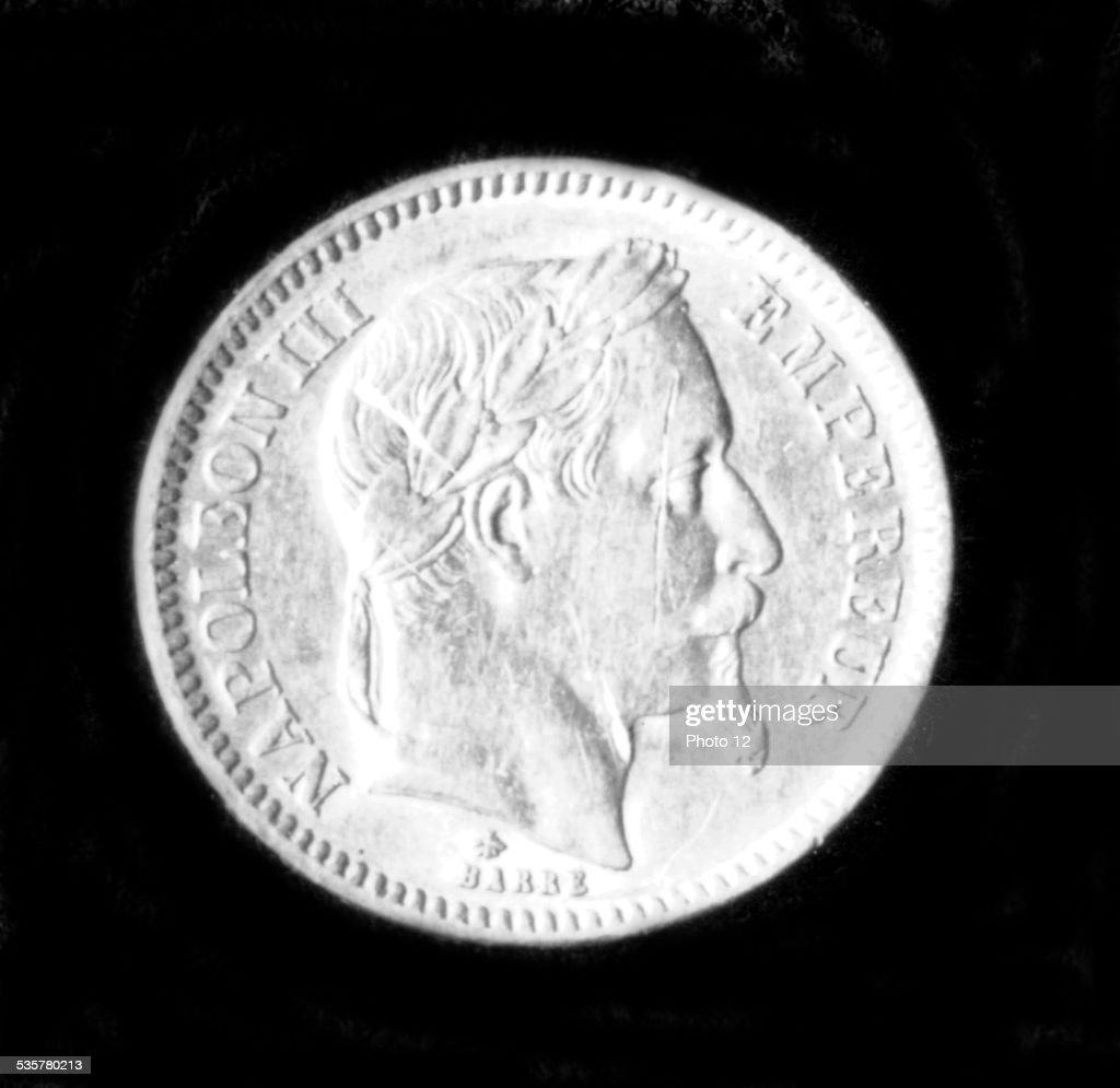 Coin bearing the effigy of <a gi-track='captionPersonalityLinkClicked' href=/galleries/search?phrase=Napoleon+III&family=editorial&specificpeople=79405 ng-click='$event.stopPropagation()'>Napoleon III</a>, 19th century, France.