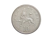 coin of Great Britain 10 pence