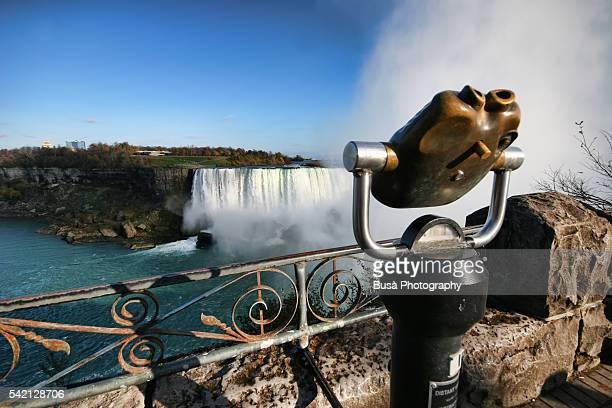 Coin operated binocular, viewing platform by the Niagara Falls, Ontario, Canada