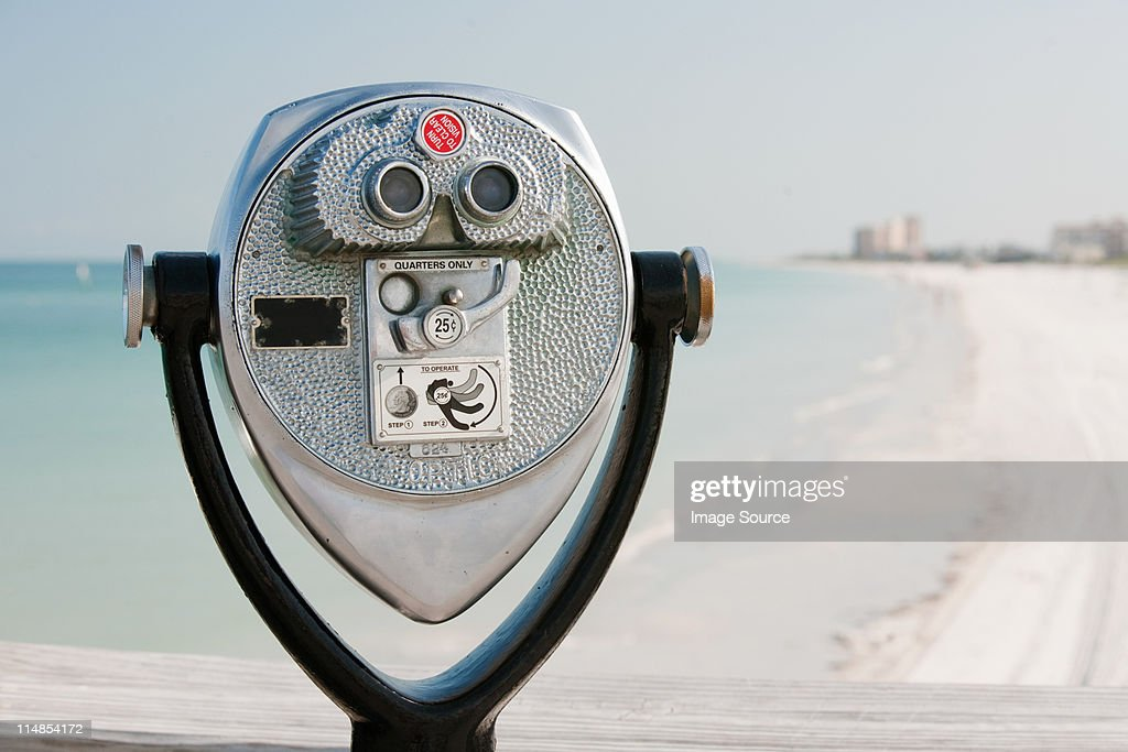 Coin operated binoculars at coast, Clearwater, Florida