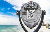 Coin operated binoculars on Clearwater Beach Florida