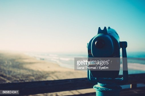 Coin Operated Binoculars On Beach